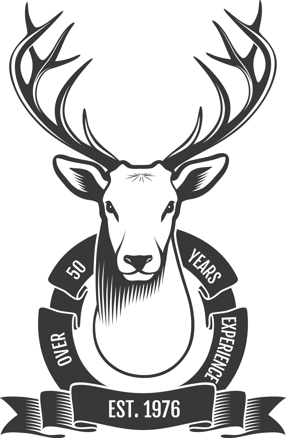 White tail deer mount graphic with a ribbon stating 'Over 50 Years Experience'